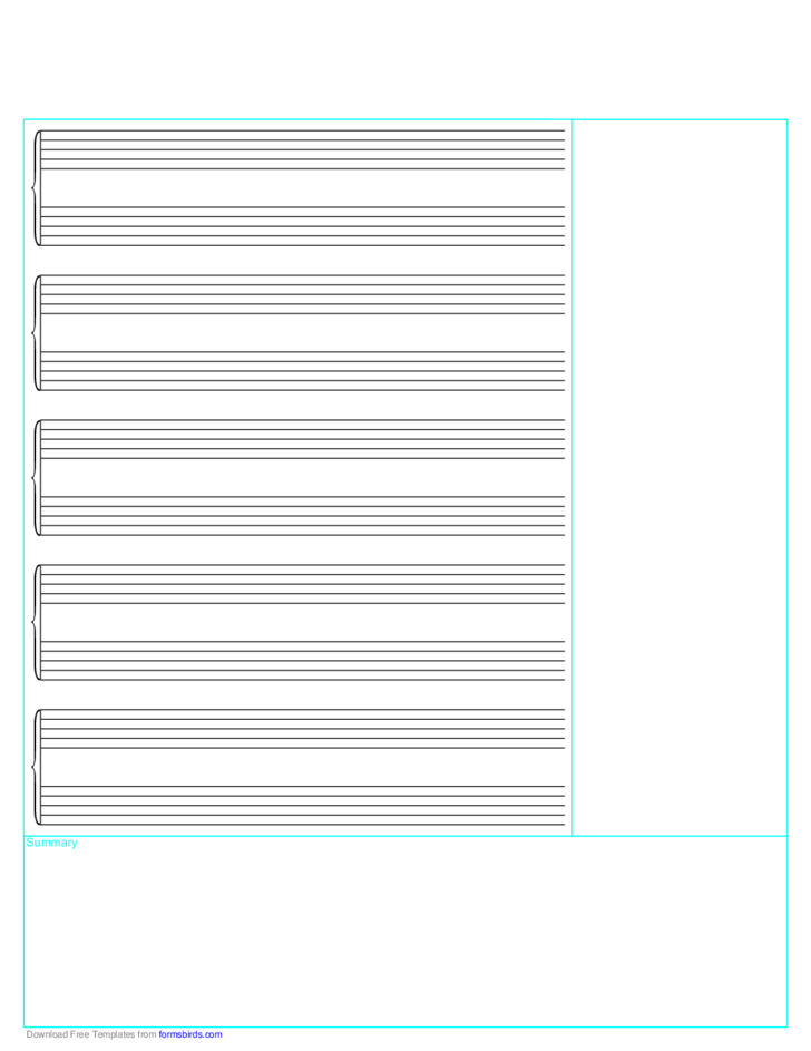 Cornell Note Paper with Musical Stuff
