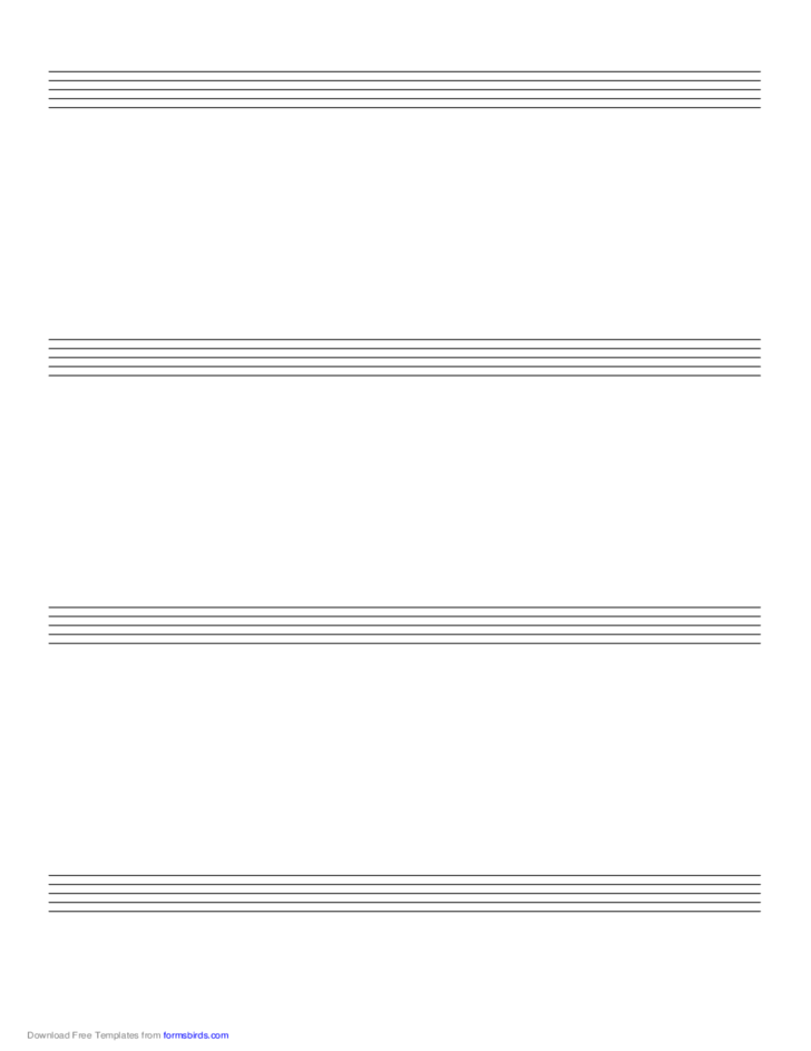 Music Paper with Four Staves on A4-Sized Paper in Portrait Orientation