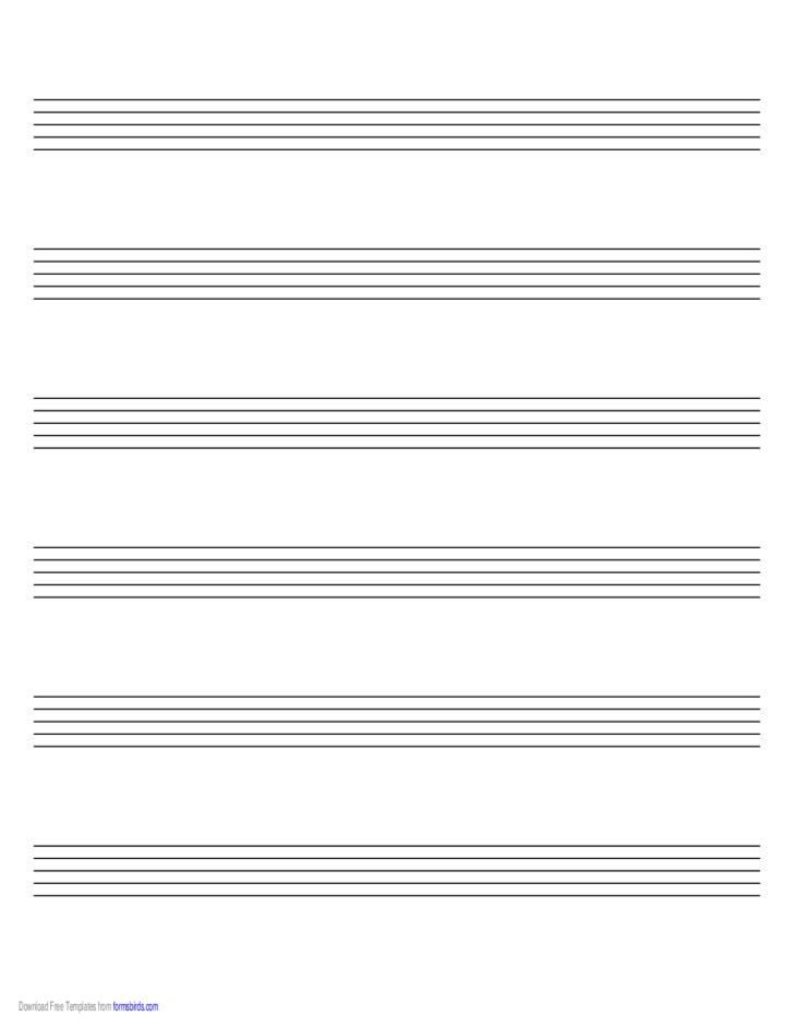 Music Paper with Six Staves on A4-Sized Paper in Landscape Orientation