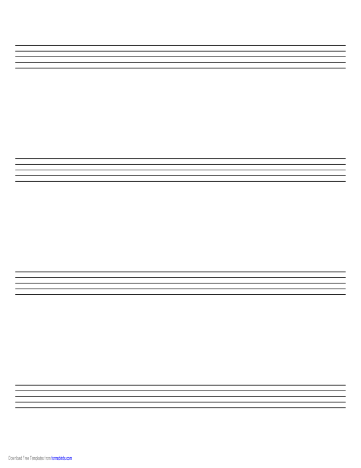 Music Paper with Four staves on A4-Sized Paper in Landscape Orientation