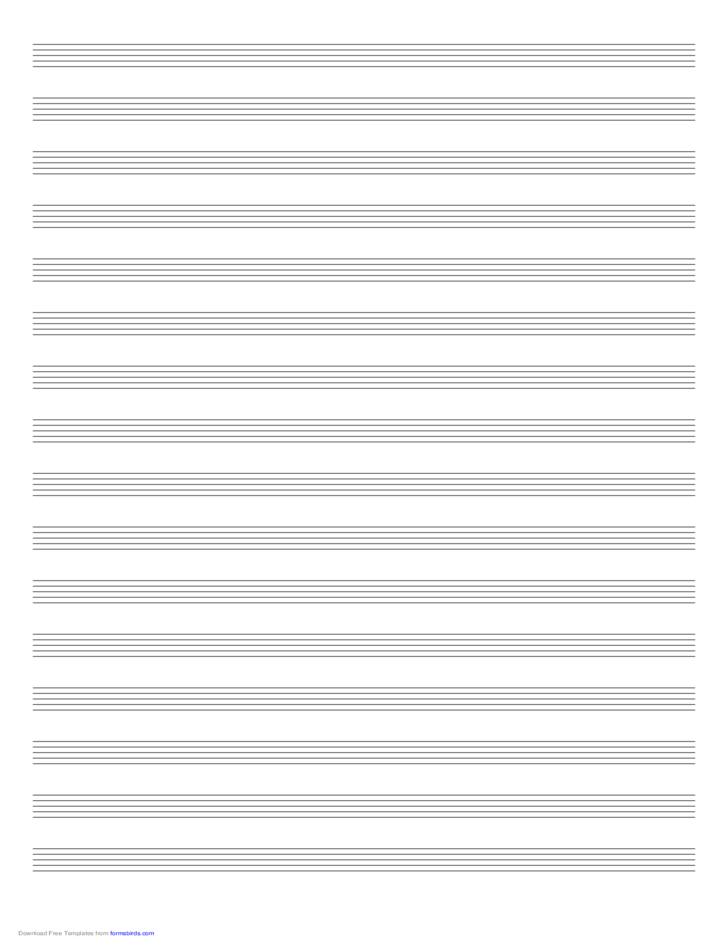 Music Paper with Sixteen Staves on Ledger-Sized Paper in Portrait Orientation