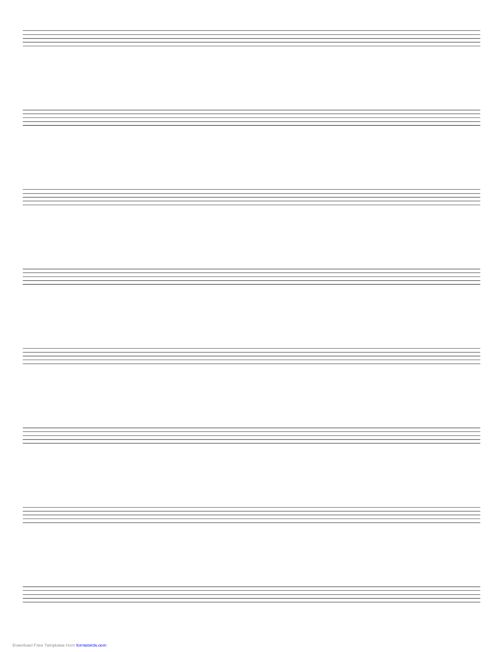 Music Paper with Eight Staves on Ledger-Sized Paper in Portrait Orientation