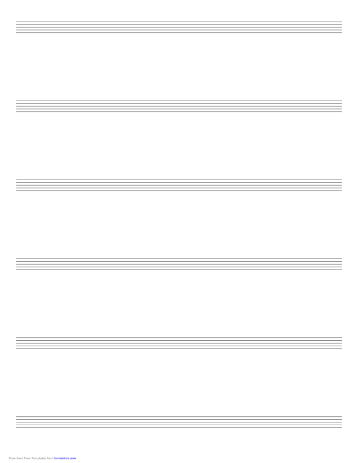 Music Paper with Six Staves on Ledger-Sized Paper in Portrait Orientation