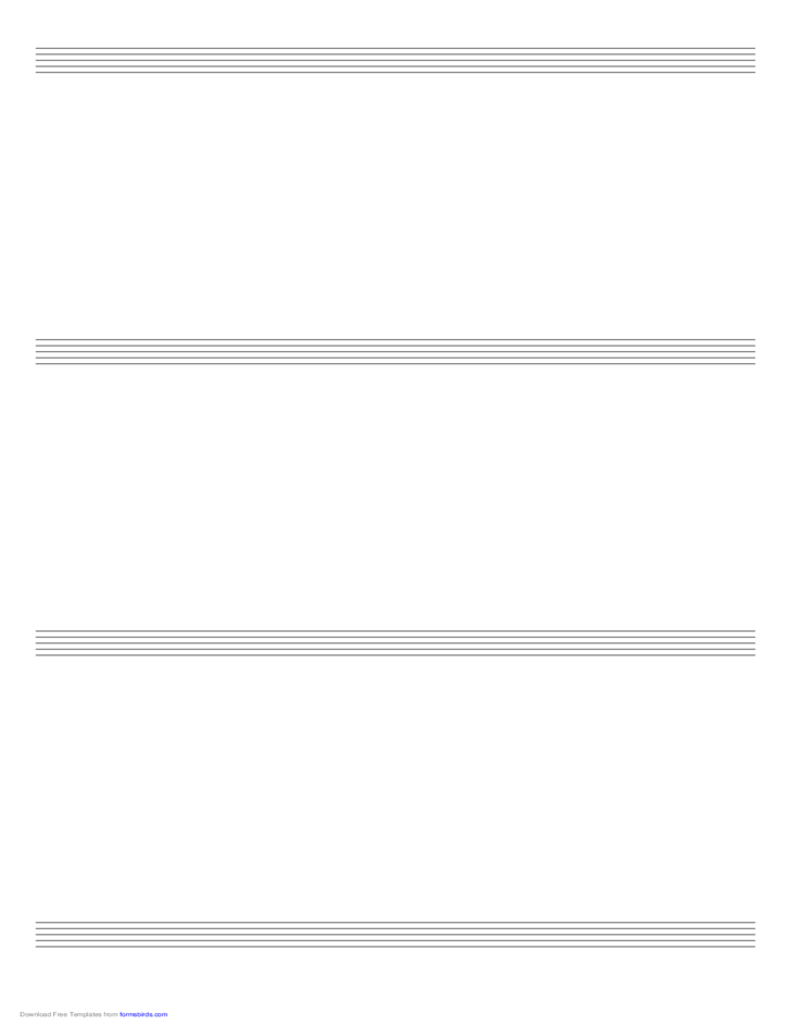Music Paper with Four Staves on Ledger-Sized Paper in Portrait Orientation
