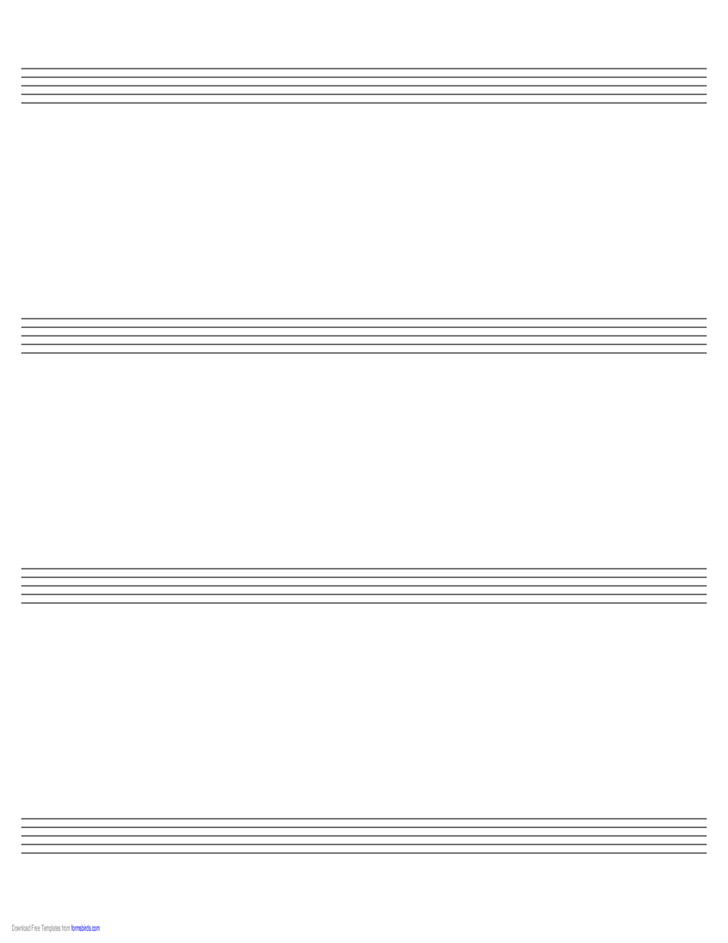 Music Paper with Four Staves on Ledger-Sized Paper in Landscape Orientation