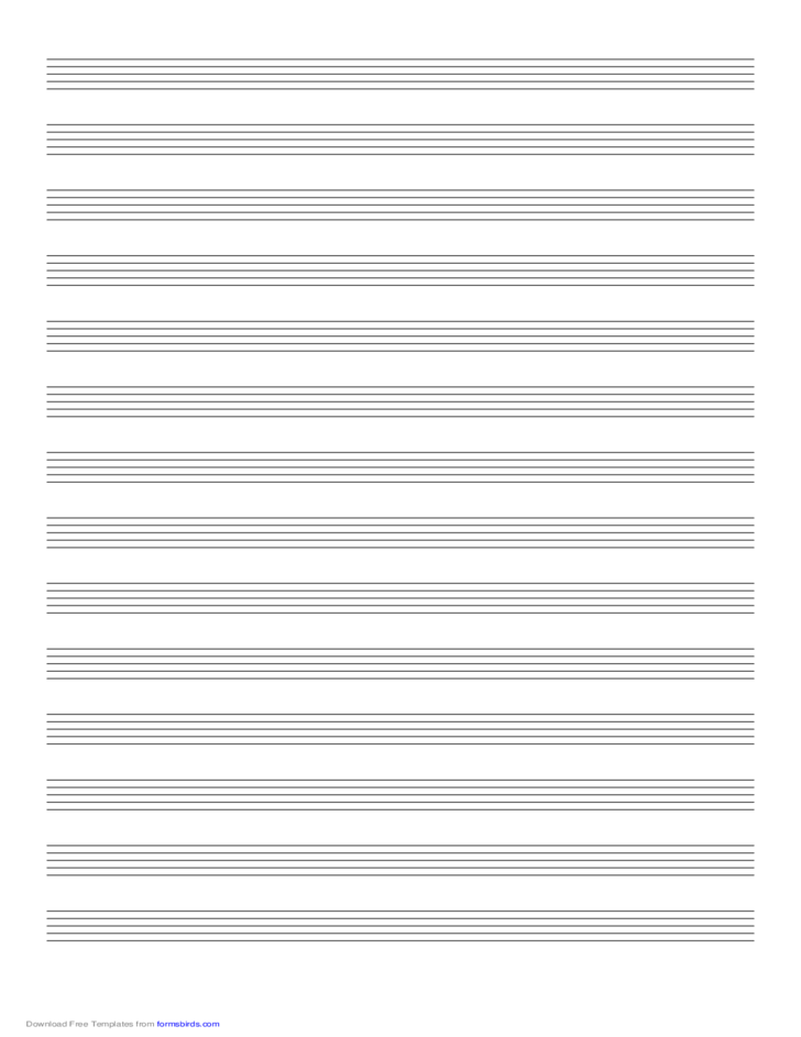Music Paper with Fourteen Staves on Legal-Sized Paper in Portrait Orientation