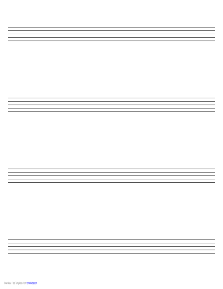 Music Paper with Four Staves on Legal-Sized Paper in Landscape Orientation