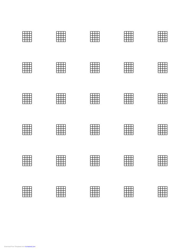 Sample Chord Chart for 5-String Instrument on Letter-Sized Paper