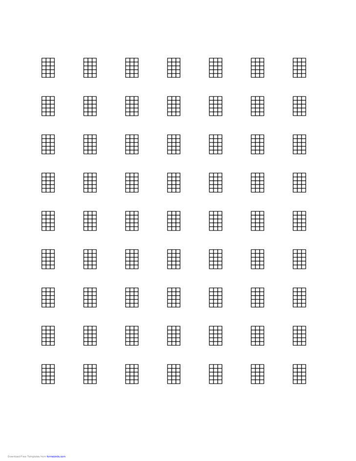 Sample Chord Chart for 4-String Instrument on Letter-Sized Paper