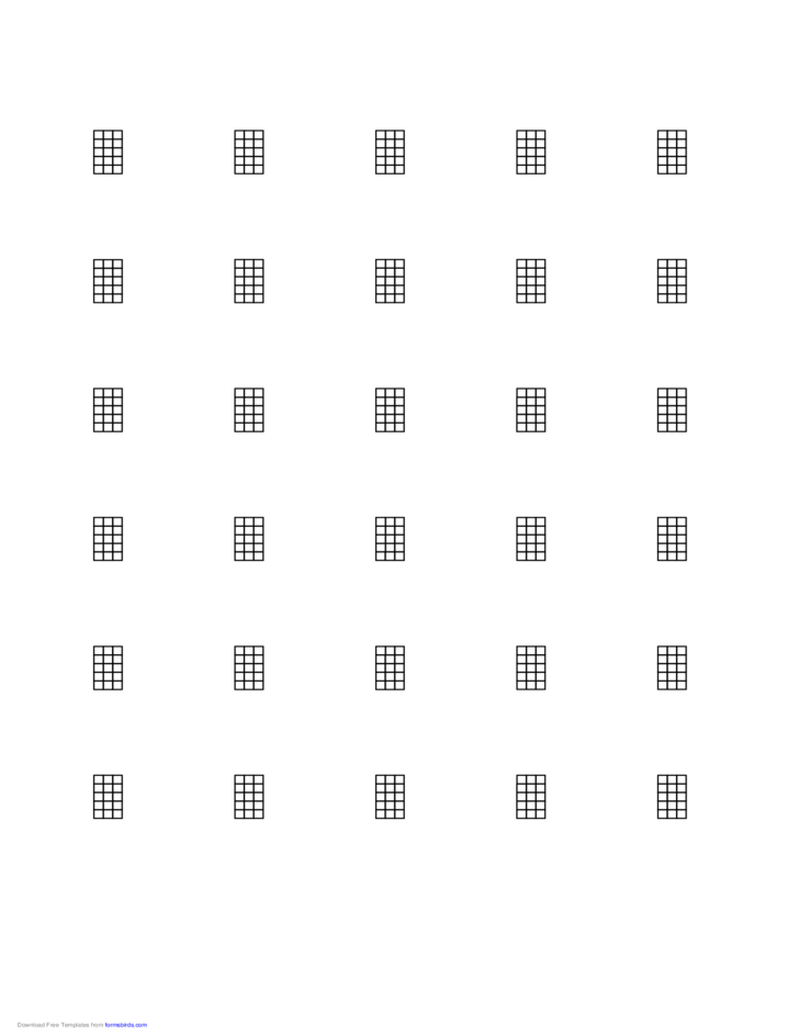 Chord Chart for 4-String Instrument on Letter-Sized Paper