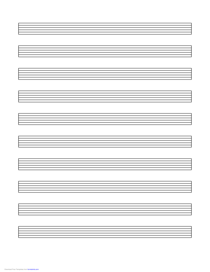 Tablature Paper (6-Line) on Letter-Sized Paper