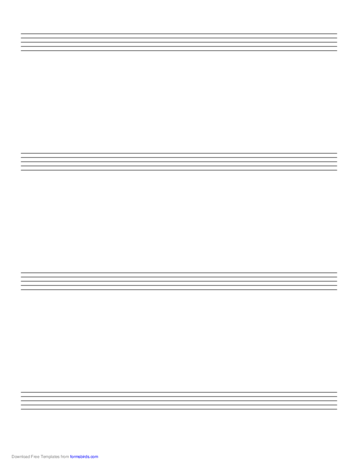 Music Paper with Four Staves on Letter-Sized Paper in Portrait Orientation