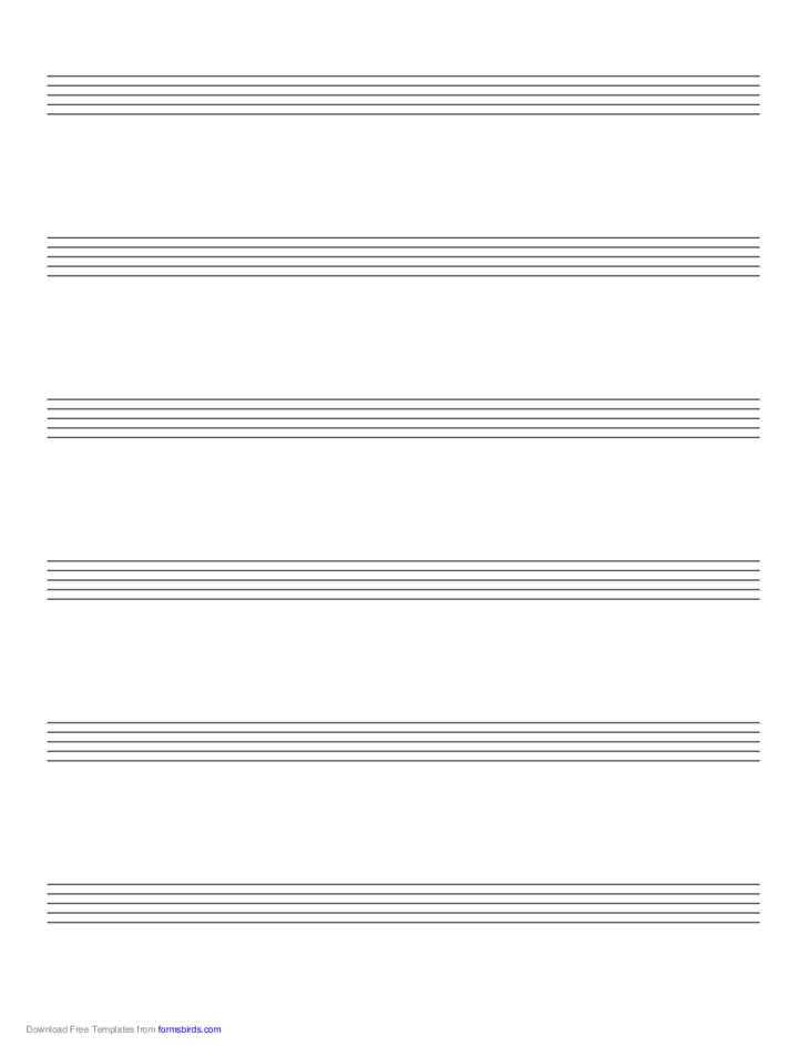 Music Paper with Six Staves on Letter-Sized Paper in Portrait Orientation