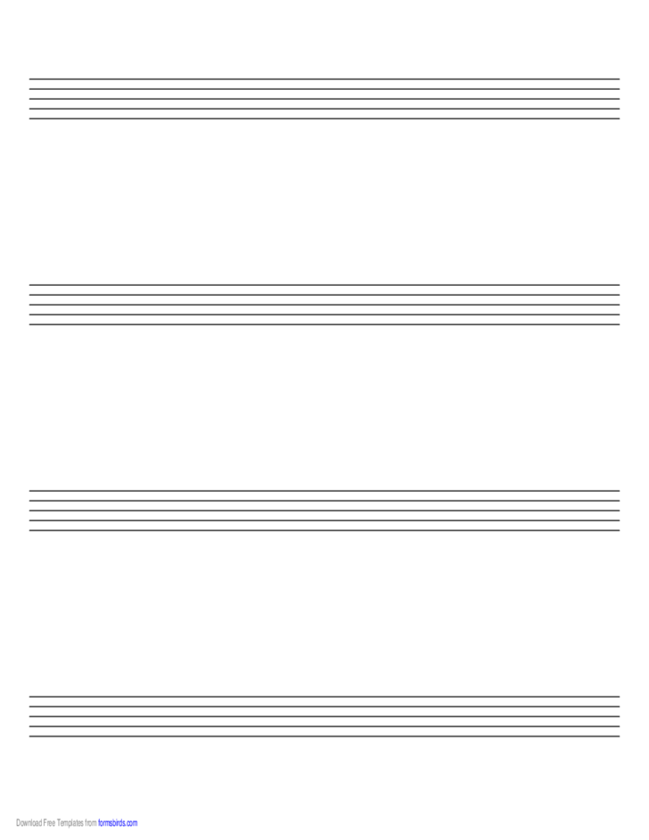 Music Paper with Four Staves on Letter-Sized Paper in Landscape Orientation