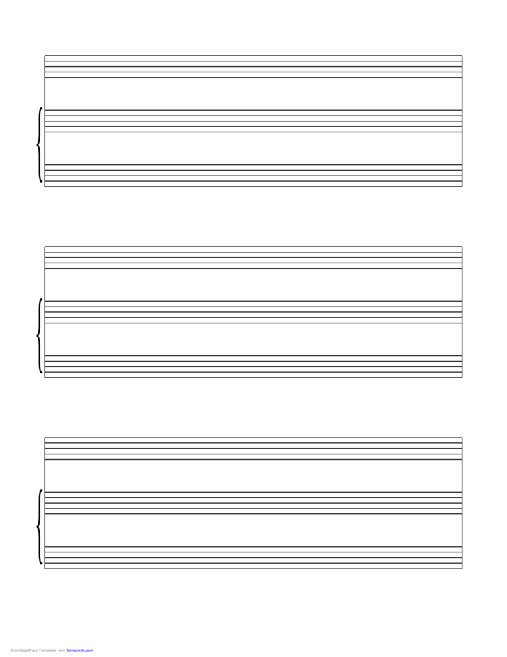 Vocal Score Music Paper on Letter-Sized Paper