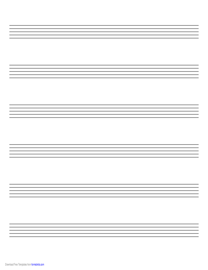 Music Paper with Six Staves on Letter-Sized Paper in Landscape Orientation