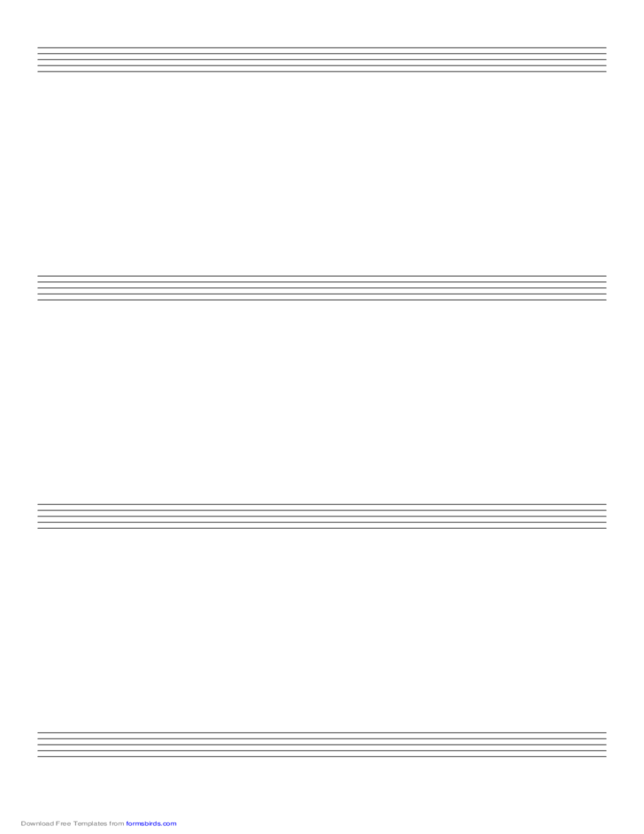 Music Paper with Four Staves on Legal-Sized Paper in Portrait Orientation