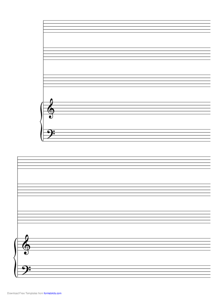 2 Systems of 3 Staves and Piano Music Paper