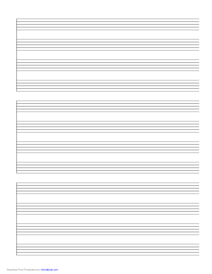 3 Systems of 4 Staves Music Paper