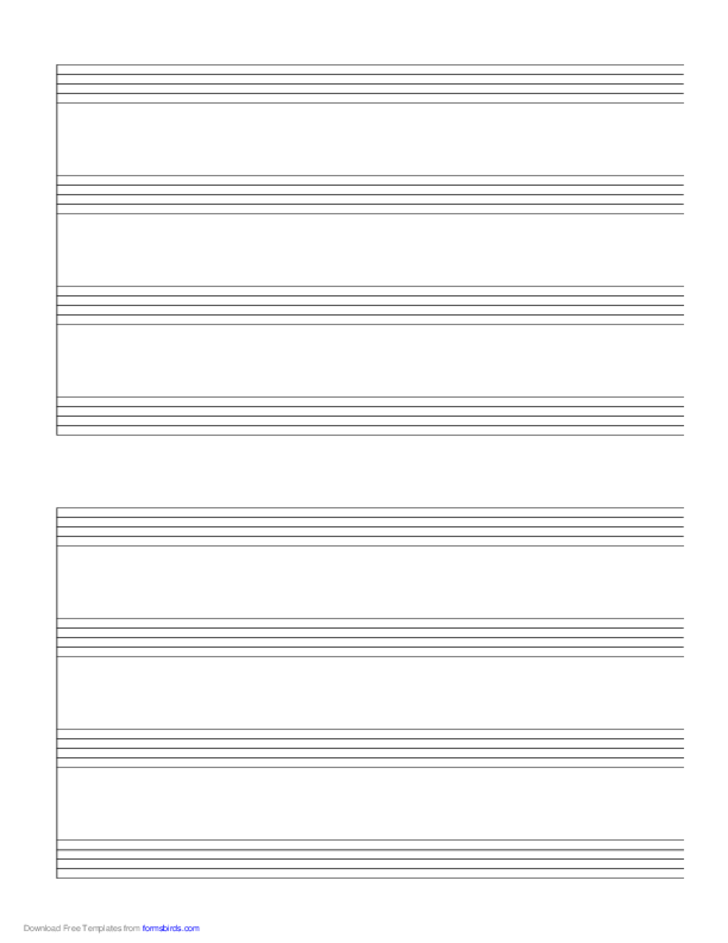 2 Systems of 4 Staves Music Paper
