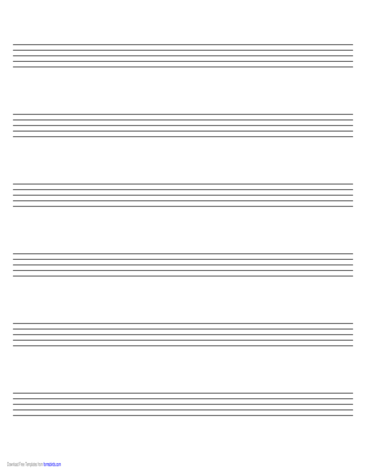 Music Paper with Six Staves on Legal-Sized Paper in Landscape Orientation