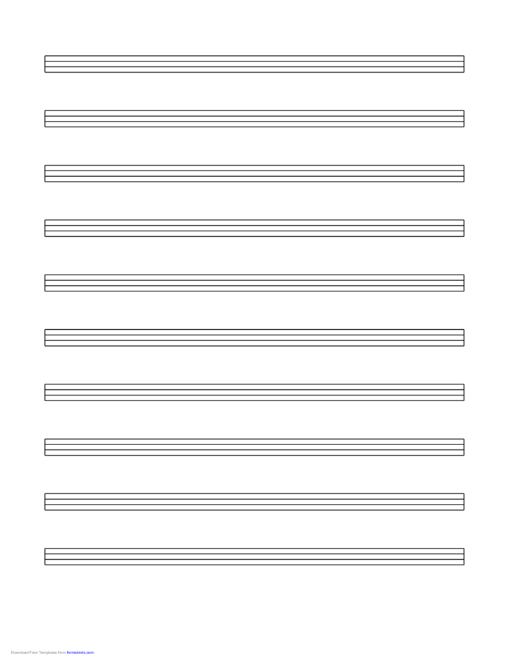Tablature Paper (4-Line) on Letter-Sized Paper