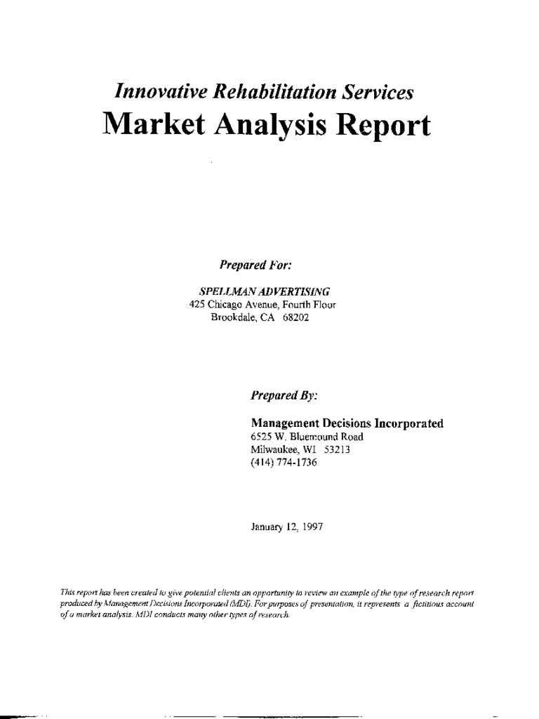 Market Analysis Report (Example Research) - Management .