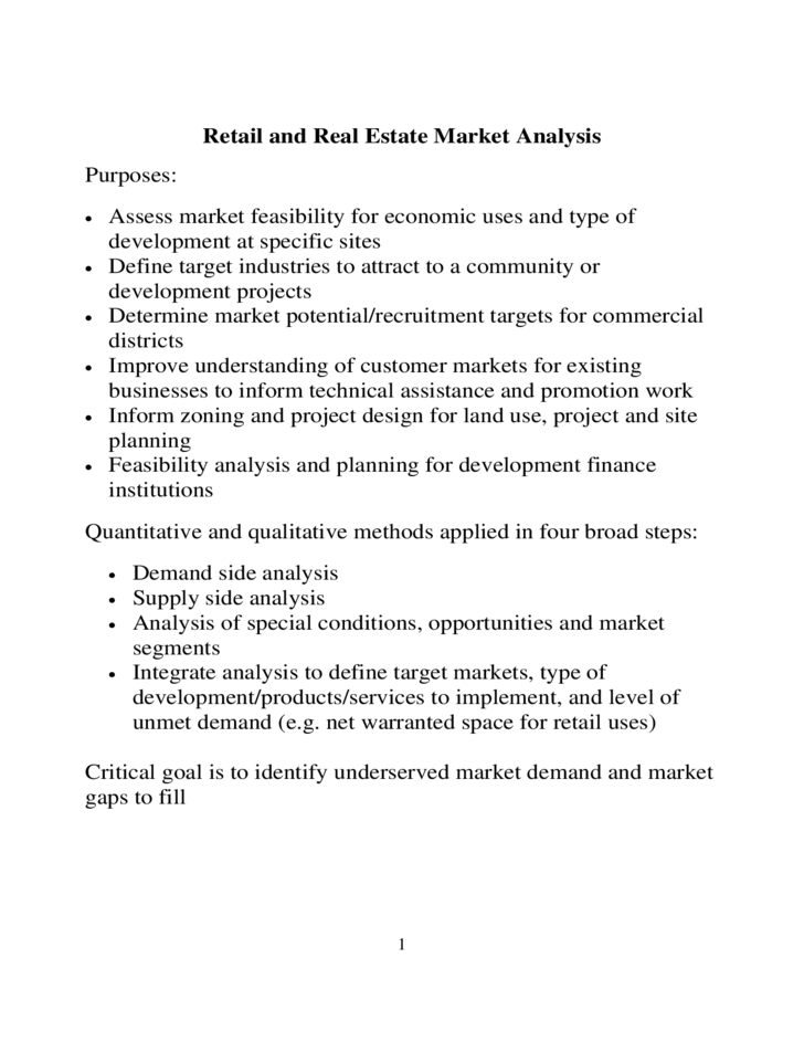 Retail market analysis sample free download for Real estate feasibility study template