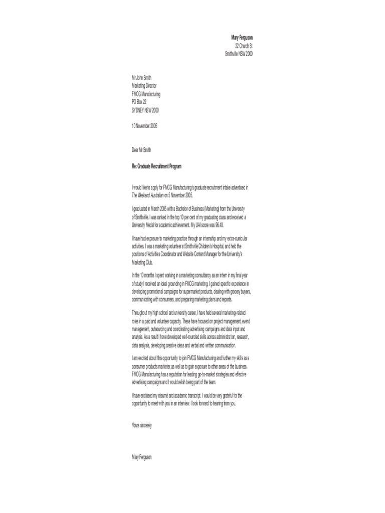 Marketing Sample Cover Letter