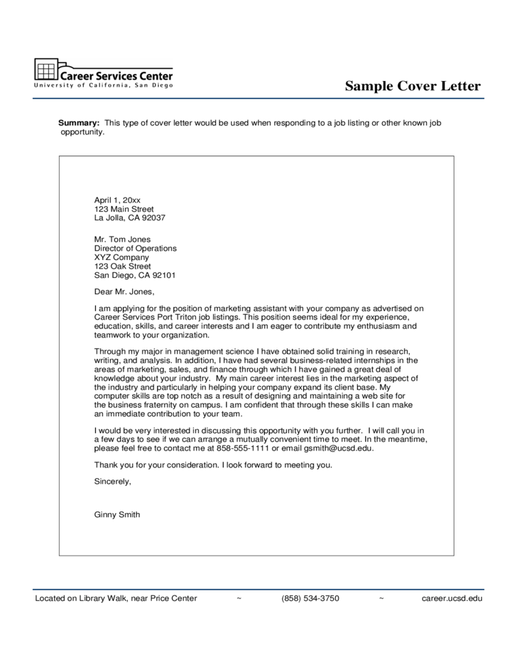 marketing cover letter examples - Examples Of Cover Letters Generally