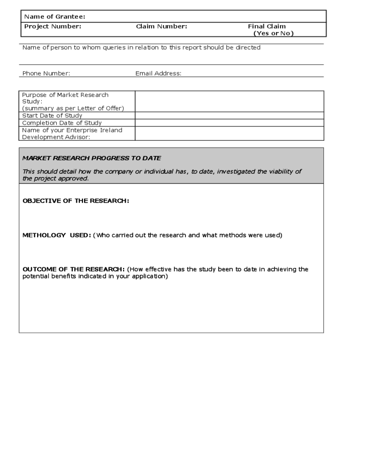 marketing research report template