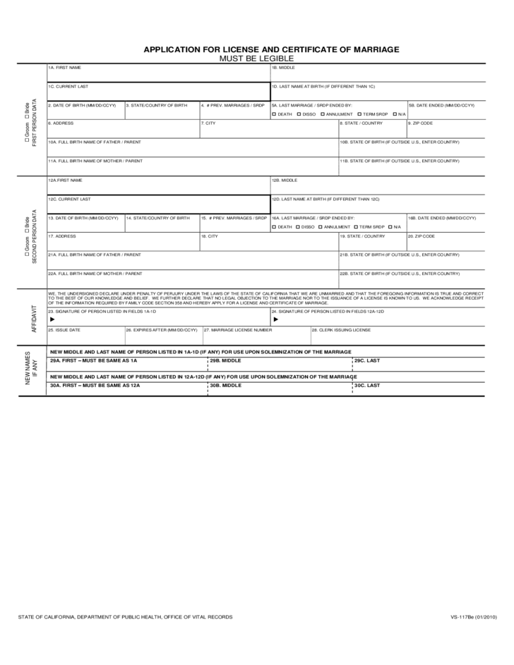 application for license and certificate of marriage