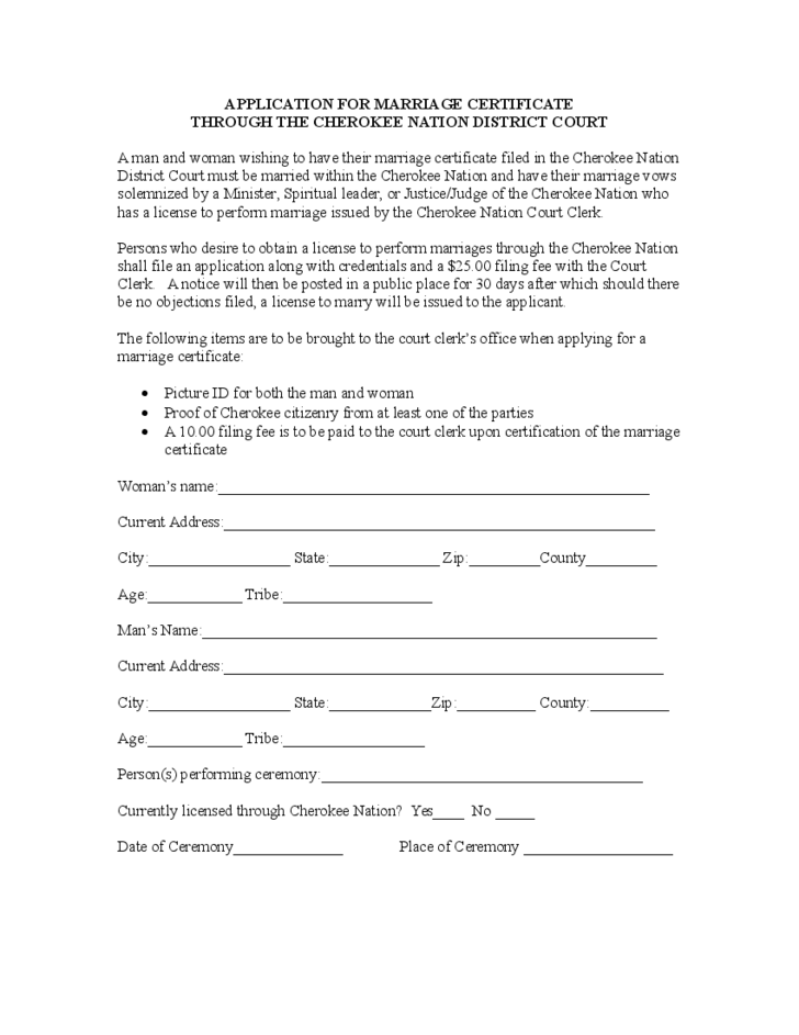 Sample Template Of Application For Marriage Certificate