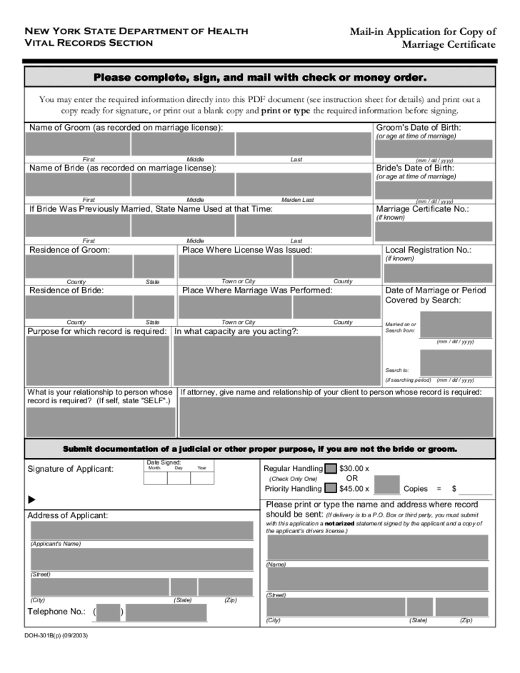 mail-in application for copy of marriage certificate - new york free