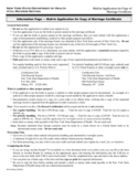 Mail-in Application for Copy of Marriage Certificate - New York
