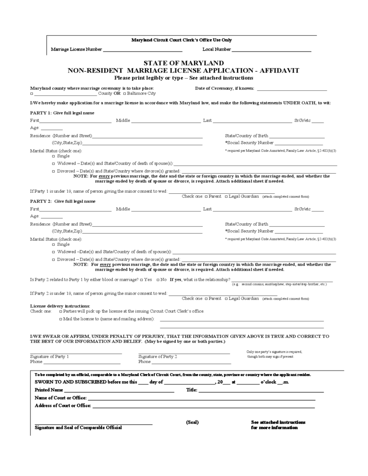 Non Resident Marriage License Or Certificate Application Form