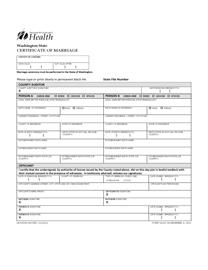 application for marriage certificate - washington state free download