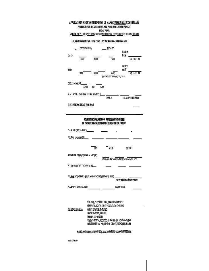 Application for Certified Copy of Marriage Certificate - Kansas Free ...