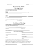 Marriage License and Certificate Form - North Dakota