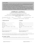 Marriage Contract Form - Ontario Free Download