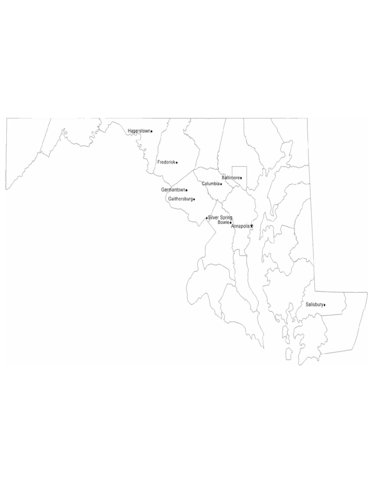Map of Maryland Cities with City Names