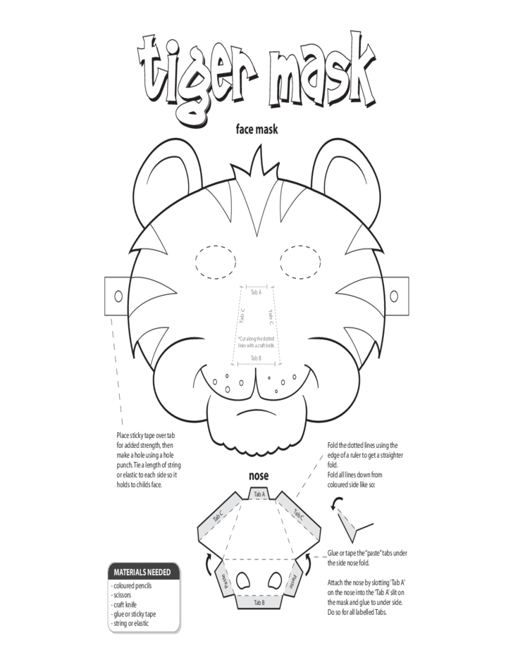Tiger Face Mask Template Free Download