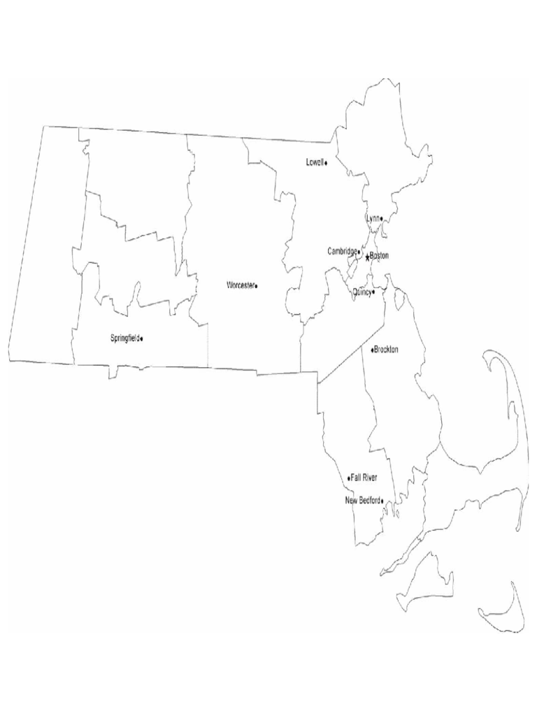 Map of Massachusetts Cities with City Names