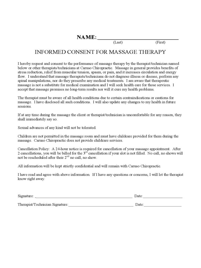 Informed Consent for Massage Therapy