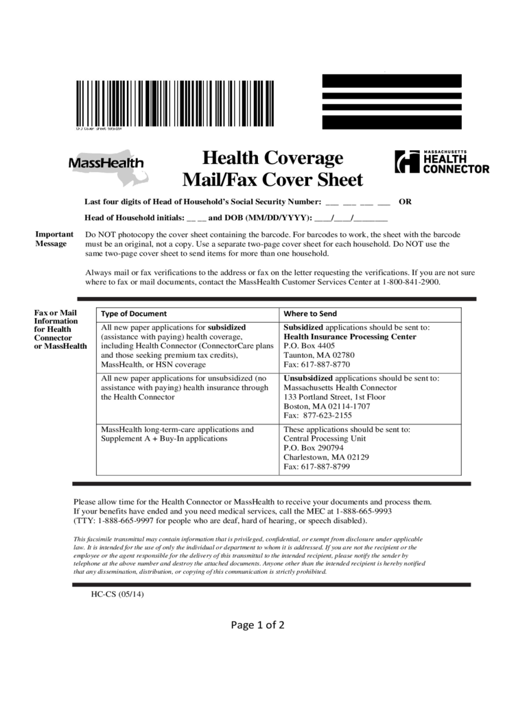 MassHealth Mail or Fax Cover Sheet