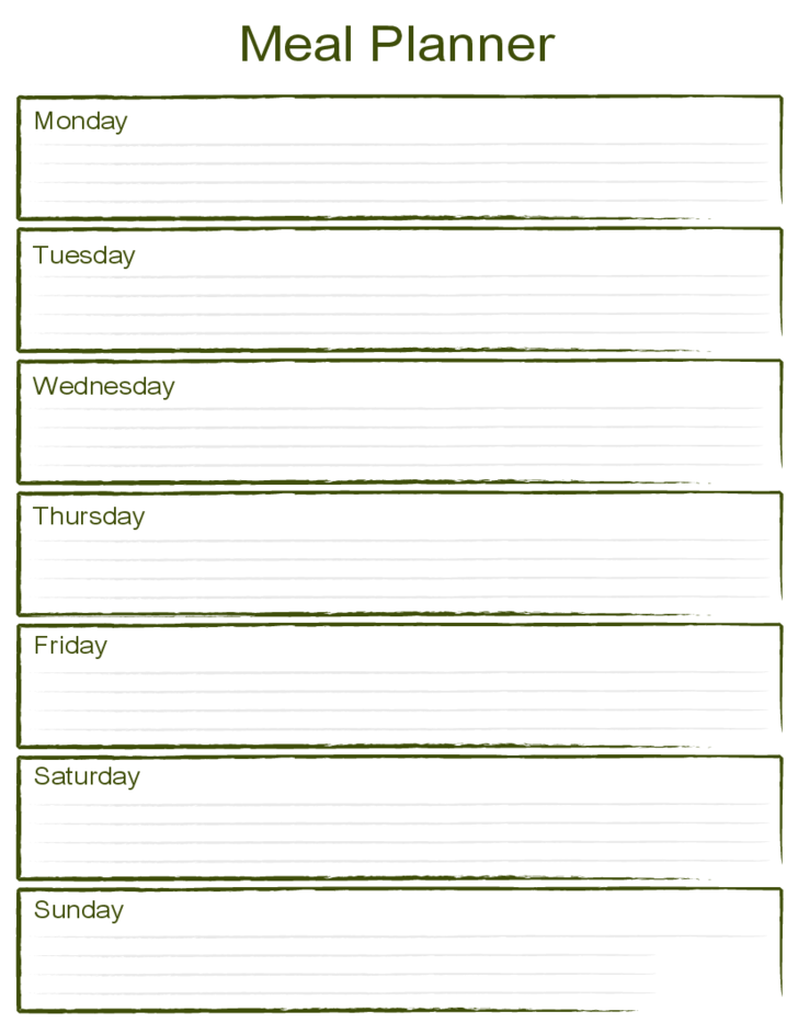 Blank weekly meal planner template free download for Week by week planner template