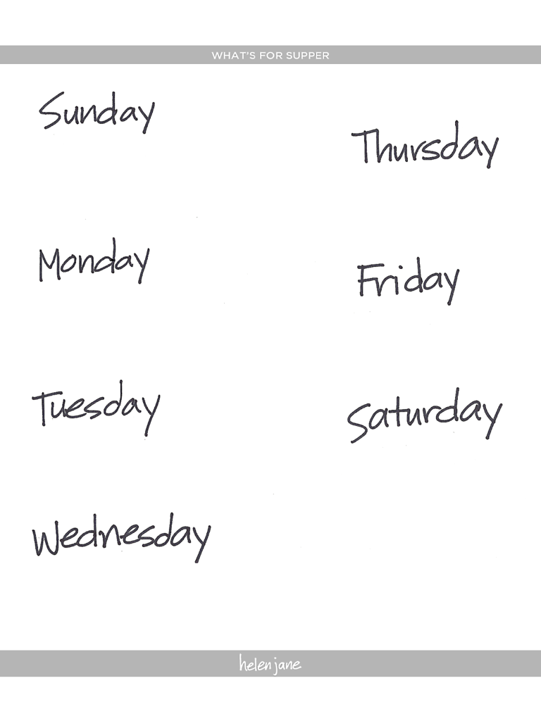 Meal Planning Template for Supper