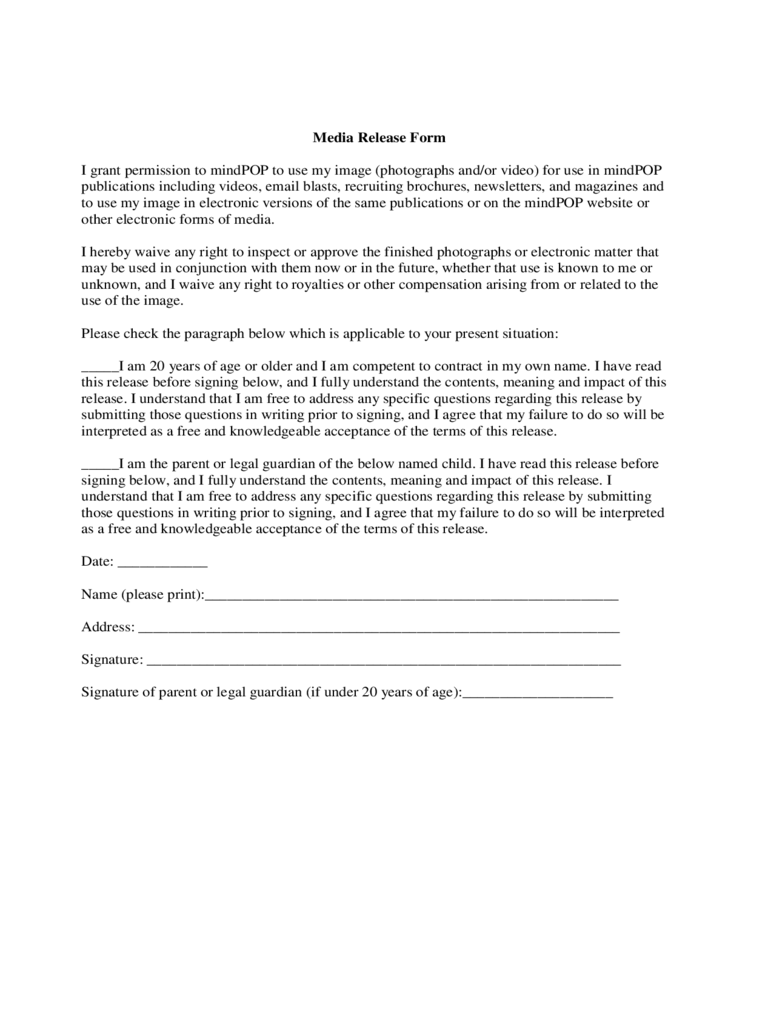 Exceptional Standard Media Release Form
