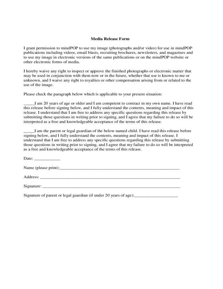standard media release form free download