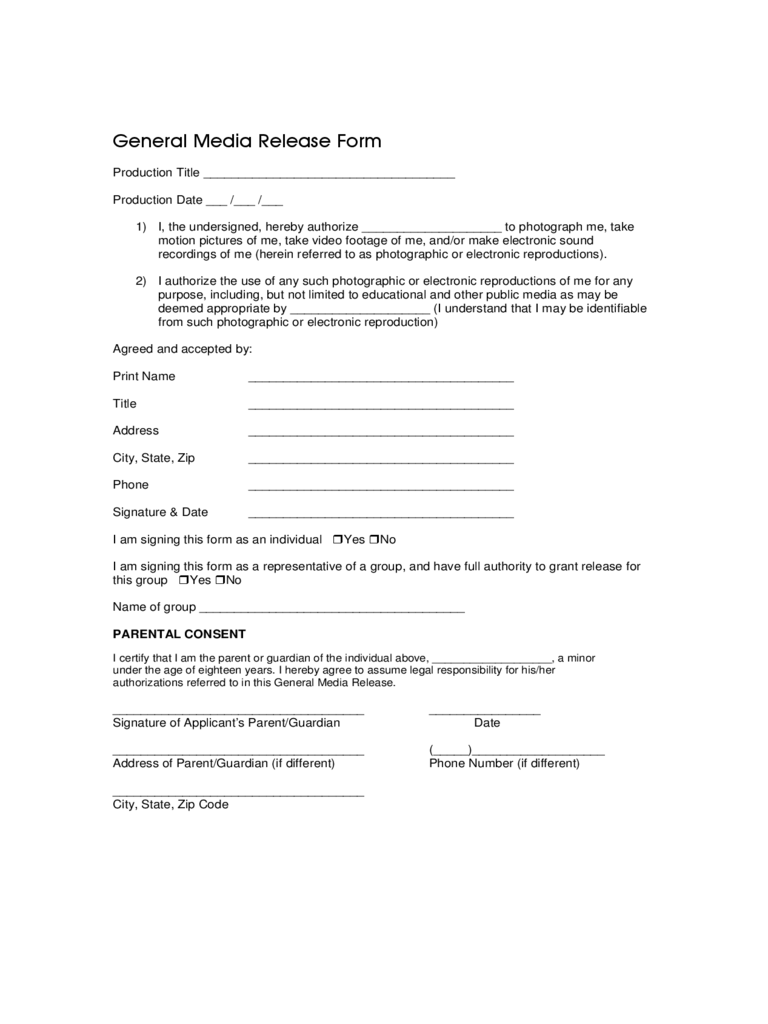 Media release form 2 free templates in pdf word excel for Generic consent form template